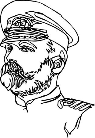 Un hombre con uniforme de gorra. Ilustración minimalista de una línea continua, retrato de un capitán de barco. Ilustración de vector