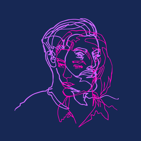 He and she, pair two faces, profiles, continuous line, drawing of two heads, mans and woman, punchy magenta violet colors on blue Ilustração