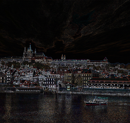 night view of Prague, photography contour stylisation