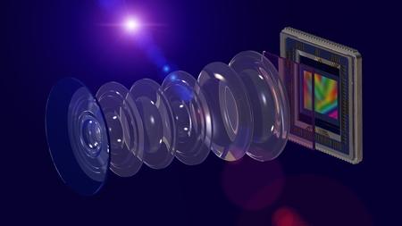 Mobile camera concept, lens and smartphone camera sensor, optical layout wide 16x9 format, 3D rendering Reklamní fotografie - 116373764