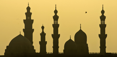 Silhouette of mosque in sunset, Cairo, Egypt Reklamní fotografie - 116373904