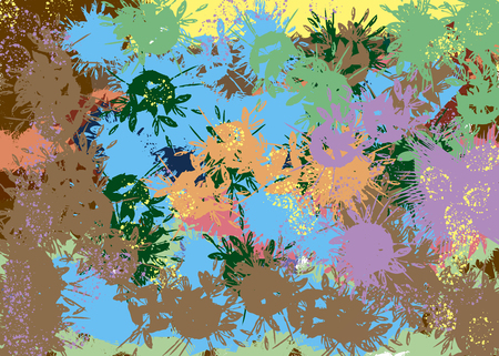 abstract background with flowers like violet, green, blue, yellow, and brown paint strokes - blots Reklamní fotografie - 116374163