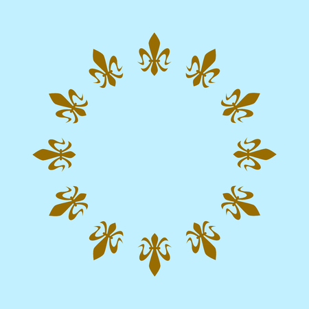 Fantasy square blue flag with golden heraldic lions, royal, bourbon lily, a symbol of peace, unity and greatness