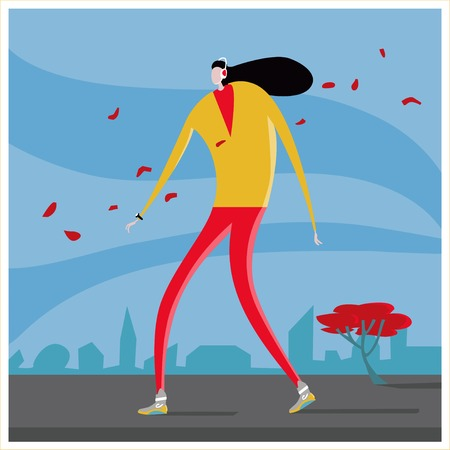 Fallen leaves, woman with heaphones walking in the street Geek musical woman walking on road at city, Autumn, falling leaves, Athletic build, headphones, smart watches, black hair develops the wind Reklamní fotografie - 116374173