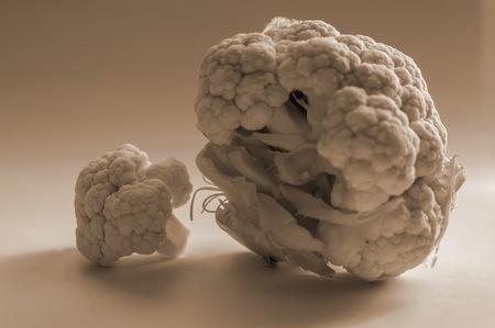fresh cauliflower on neutral background, isolated with smaller element Reklamní fotografie - 116374282