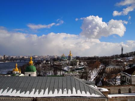 Panorama of Kiev-Pechersk Lavra and Dnieper expanses, Kiev, Ukraine. Reklamní fotografie - 116374368