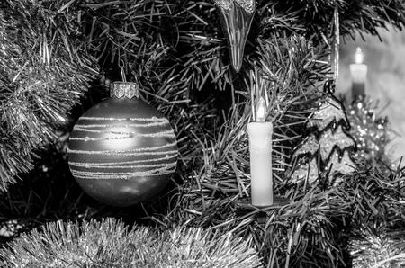 christmas decoration on christmas tree background, close up, black and white Reklamní fotografie - 116374371