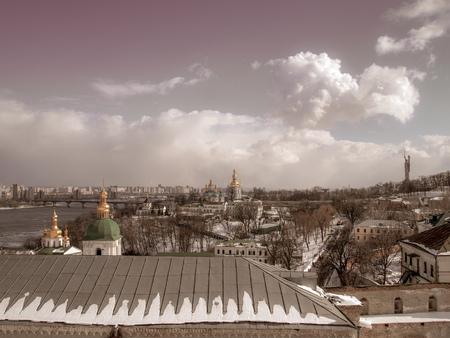 Panorama of Kiev-Pechersk Lavra and Dnieper expanses, Kiev, Ukraine. Reklamní fotografie - 116374376