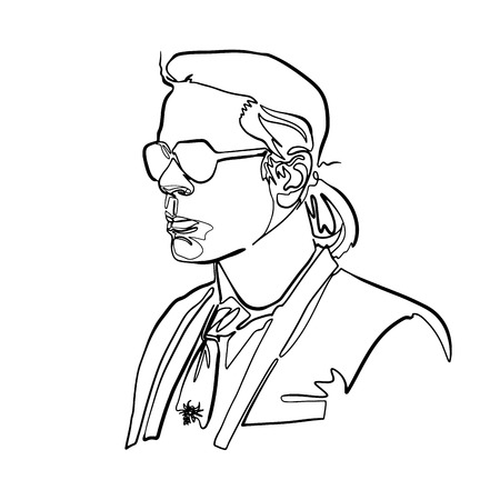 sketch of karl lagerfeld's head, minimalist continuous line drawing