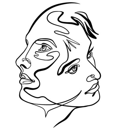 Continuous line drawing of couple faces - two, man and woman minimalist concept