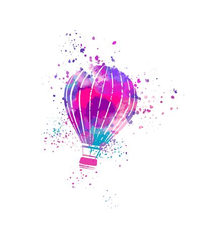 hot air balloon isolated on white, watercolor hand painting with stippling, spray, splashes, rainbow pastels palette
