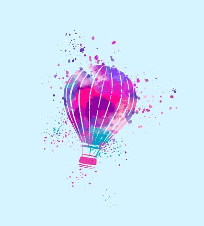 hot air balloon in the sky, watercolor hand painting with stippling, spray, splashes, rainbow pastels palette
