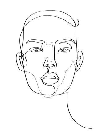 Womans face front view, minimalist continuous line beauty, fashion portrait