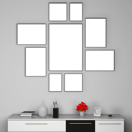 Empty set of frames on the wall - template of interior decoration with 9 artworks, space for your art
