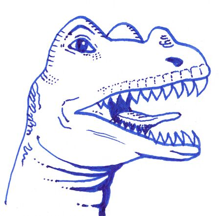 Dinosaur head drawing. Ceratosaurus with open mouth.