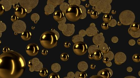 Abstract luxury background with gold spheres, Reminiscent of jewelry, and minimalist black bacground, 3d rendering
