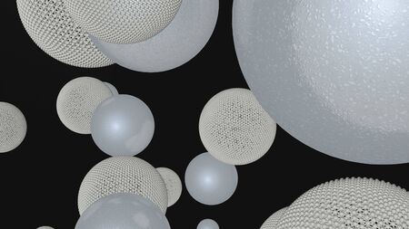 Abstract luxury background with white spheres, pseudo scientific minimalist black bacground, 3d rendering