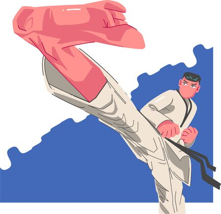 Karate guy in action with kick of the foot in Kimono, isolated on white Vector Illustratie