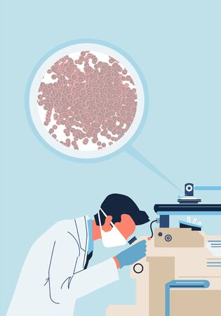 A doctor performs a blood test under a microscope. Minimalist style illustration.