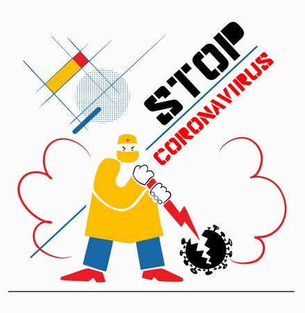Stop Coronavirus, Bauhaus Style Banner. A doctor with red lightning in his hands splits the black coronavirus into two parts.