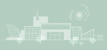 A minimalistic schematic depiction of city panorama. An architectural structure with thin lines in a minimalist style. It can be an urban landscape, a hospital, a government institution, etc. Stock Illustratie