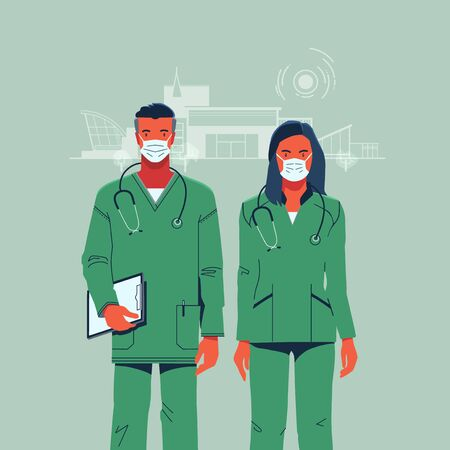 doctors man and woman in medical overalls with stethoscopes on the background of the hospital Stock Illustratie
