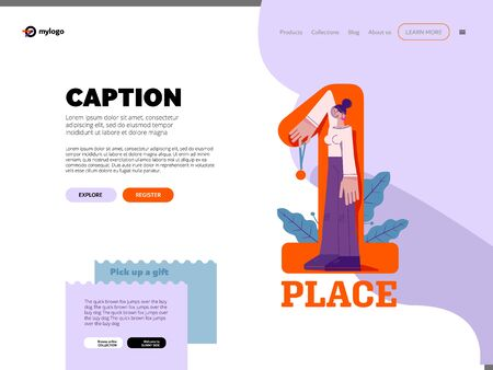 Website layout, design. Template for landing page. First place concept. Woman handing a medal, a symbol of victory, success. Laurels, minimalistic concept, geometric pattern, character with big hands Stock Illustratie