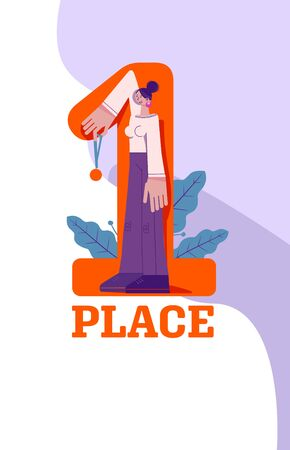 First place concept. Woman handing a medal, a symbol of victory, achievement, success. Laurels, minimalistic conceptual style, geometric pattern, sketchy caricature character with big hands and feet Stock Illustratie
