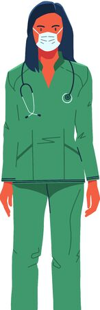 Woman doctor in a green medical suit with a stethoscope stands isolated on a light background.