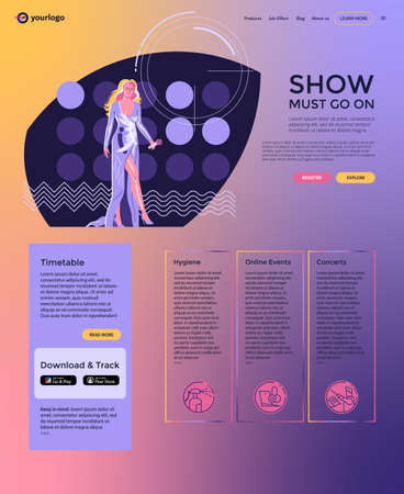 Landing Page layout, modern performer - woman singer with  microphone in long evening dress walking at stage against the background of concert lights. Flat style minimalist illustration, 1980 color set, web page design with attractive gradient fill