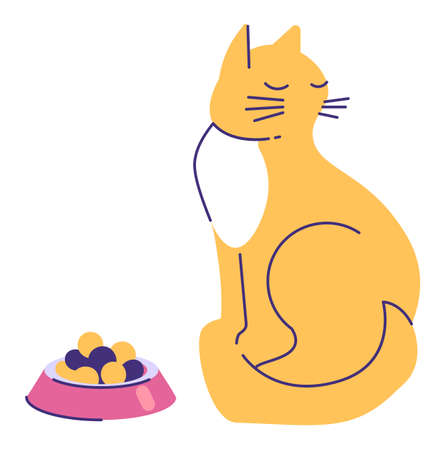 Minimalist drawing of cat with food, cartoony flat style