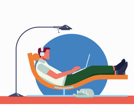 Remote work from home. Freelancer - man with laptop and headphones in apartment on modern sofa style chair engaged in communications. Floor lamp, cat, isolated Stock Illustratie