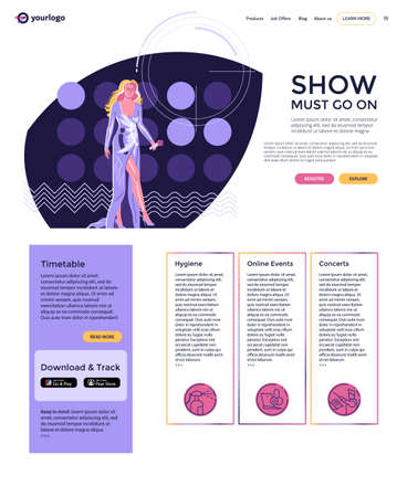Landing Page layout, modern performer - woman singer with  microphone in long evening dress walking at stage against the background of concert lights. Flat style minimalist illustration, 1980 color set, web page design on white background