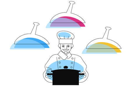 Chef in a classic chef's outfit with a large saucepan. Minimalistic flat style illustration with three balloon type meal symbols for your design.