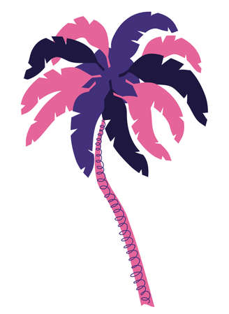 Palm tree minimalist illustration in retro 1990 color scheme, flat style