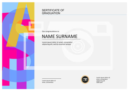 Sertificate of graduation, diploma template with space for your text, letters graphic design and camera icon Stock Illustratie