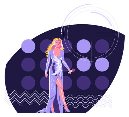 Modern performer - woman singer with  microphone in long evening dress walking at stage against the background of lights. Flat style minimalist illustration, 1980 color set