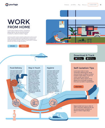 Work from home. Web design template with infographics. Freelancer - man with laptop and headphones communicating. Landing page layout. Modern sofa-chair, floor lamp, cat, window, auto, house.