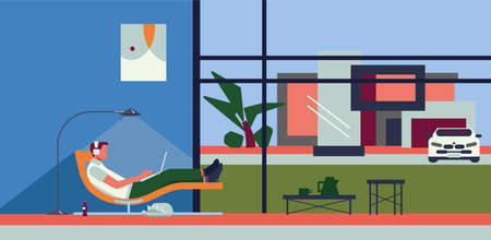 Remote work from home. Freelancer - man with laptop and headphones in apartment on modern sofa style chair engaged in communications. Floor lamp, cat, painting on the wall, window, auto, house. Stock Illustratie