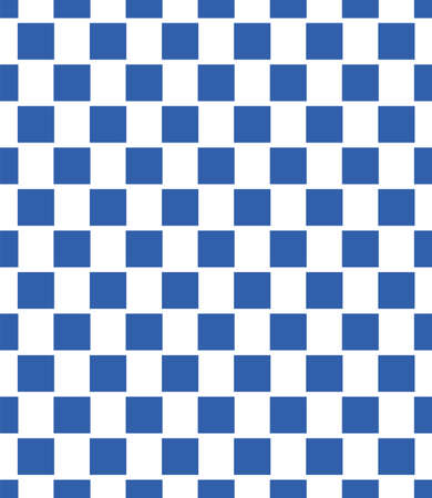 Seamless pattern of blue squares on white staggered with small gaps creating an optical illusion of shimmering space. Texture ready for use in design. Chess board style.