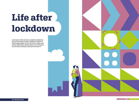 Page design with conceptual illustration on quitting quarantine: life after lockdown, city, kissing couple, flat style, simple geometric pattern, virus in ornament, place for text, headline, template