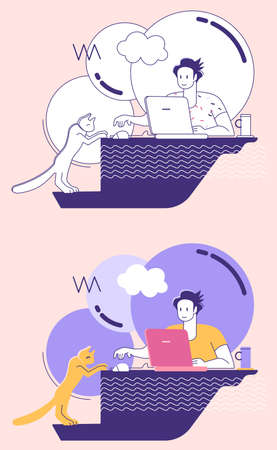 Remote work from home. Freelancer - man with laptop and cat in apartment , table, communications. Two styles - with outlines and with solid fills Stock Illustratie