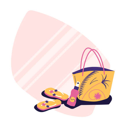 Beash accessories - beach bag, flip flops, suntan cream - sticker style illustration, flat style, summertyme concept
