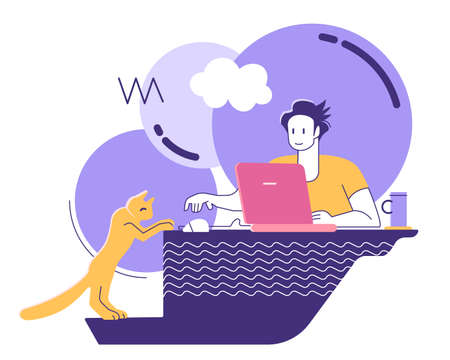 Remote work from home. Freelancer - man with laptop and cat with cloud, engaged in communications. Cat, table, tea coffee, computer mouse, flat style Stock Illustratie
