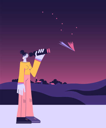 Woman examining a comet with binoculars, evening sky, constellation Ursa Major, countryside, minimalistic flat illustration Stock Illustratie