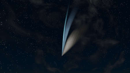 Comet in the evening sky among clouds and stars with coma and blue colored ion and warm colored dust tails, 3D rendering
