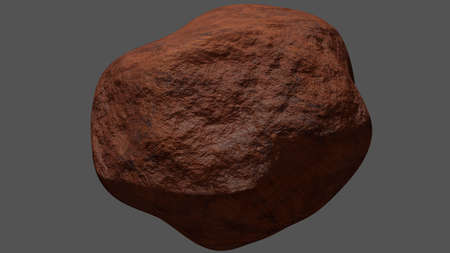 Stone made of orange rocks, such as a kind of soil on Mars or rock from canyon, desert, or a celestial body of meteor, meteorite, or satellite. Isolated on gray background. 3D rendering.