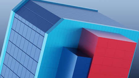 Abstract architectural composition of the building fragment cladding colored stripes of red, magenta, green, blue. Against the background of the blue sky. 3D rendering