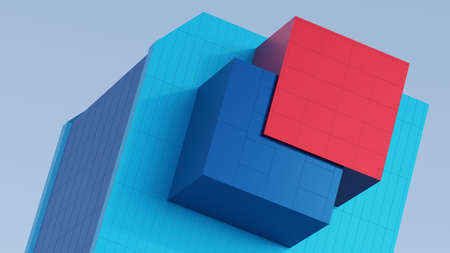 Abstract architectural composition of the building fragment cladding colored stripes of red, blue. Against the background of the blue sky. 3D rendering Foto de archivo