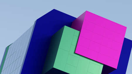 Abstract architectural composition of the building fragment cladding colored stripes of magenta, green, blue. Against the background of the blue sky. 3D rendering